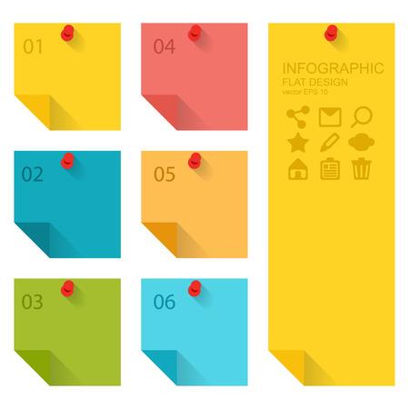 Illustration pour Flat design of infographics elements, colorful sticky notes - image libre de droit