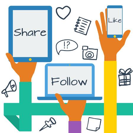 Ilustración de Flat design modern vector illustration concept with social media icons. Hands with symbols. - Imagen libre de derechos