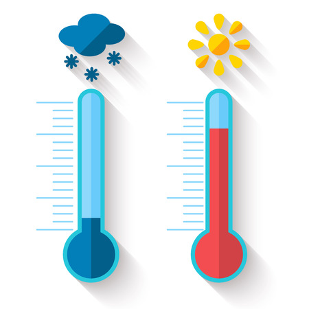 Illustration pour Flat design of Thermometer measuring heat and cold, with sun and snowflake icons, vector illustration - image libre de droit