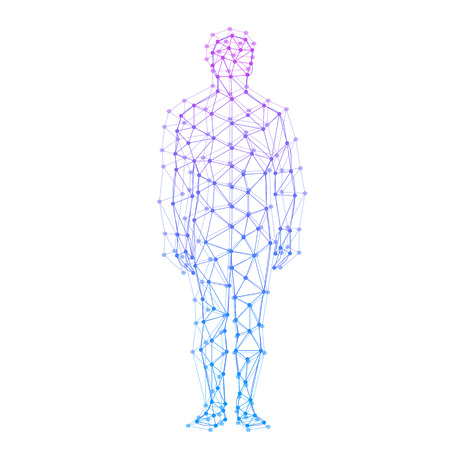 Illustration pour Abstract model of man with points and lines. Vector background - image libre de droit
