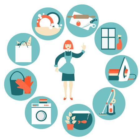 Illustration pour House work concept vector illustration. - image libre de droit
