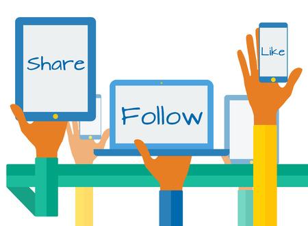 Ilustración de Concept with social media icons. - Imagen libre de derechos