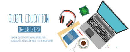 Ilustración de Flat design concept for online education. Concepts for web banners. - Imagen libre de derechos