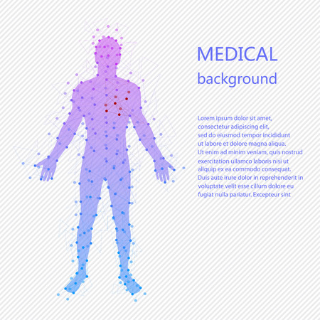 Foto de Medical background. Abstract model of man with points and lines. Vector background. Human anatomy - Imagen libre de derechos