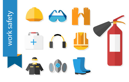 Illustration pour Set of flat icons for safety work. Vector illustration. - image libre de droit