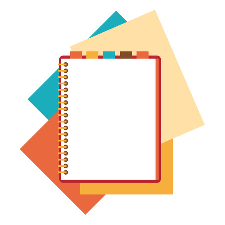 Illustration pour Flat design notepad and paper sheets isolated on white background whit place for text. - image libre de droit