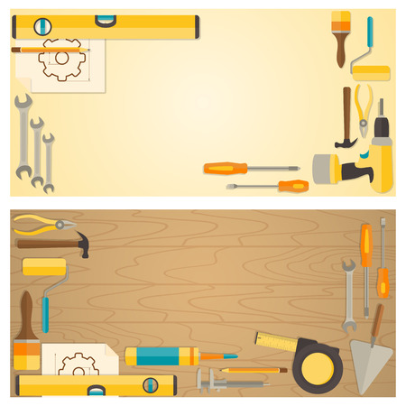 Illustration pour Web banner concept of DIY shop. Vector flat design background with do-it-yourself tools for construction and home repair on wooden surface. - image libre de droit