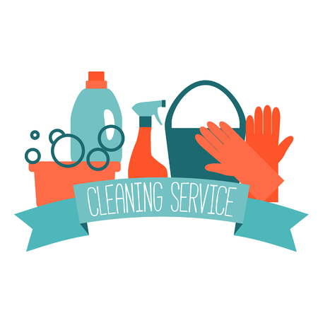 Illustration for Flat design for cleaning service isolated on white. Vector illustration. - Royalty Free Image