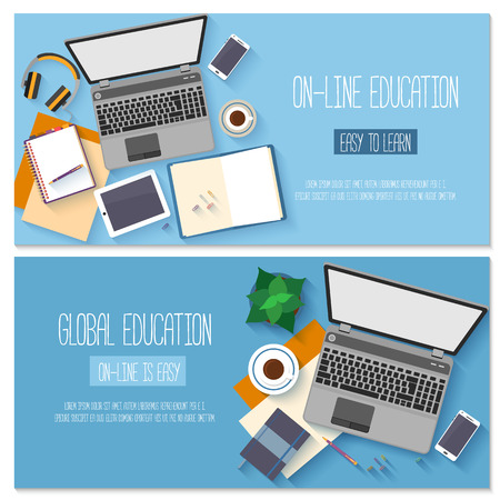 Foto de Flat design for online education, training courses, e-learning, distance trainings. - Imagen libre de derechos