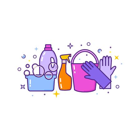 Ilustración de Flat design logo for cleaning service isolated on white. - Imagen libre de derechos