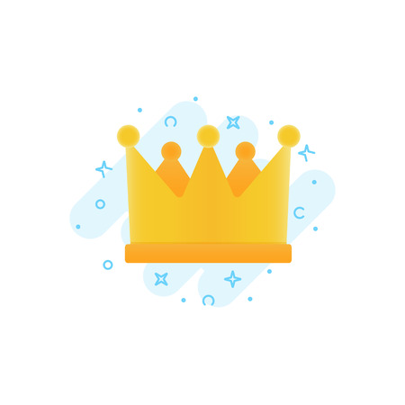 Illustration pour Gold crown vector flat icon, awards for winners, champions, leadership. Symbol for logo, label, game, hotel, app design. Royal king queen princess crown - image libre de droit