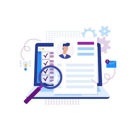 Illustration pour Modern flat design concept of recruiting. Website header of landing page template. Employer, businessman resources, hr job presentation. Vector illustration - image libre de droit