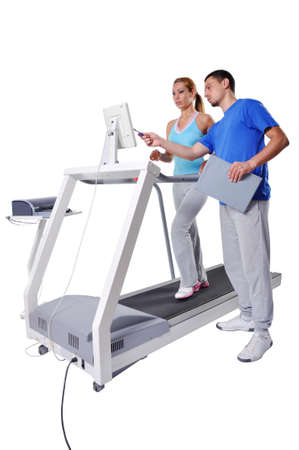 Foto per Sports Scientist doing Performance Assessment with Treadmill. Modern Technology. - Immagine Royalty Free