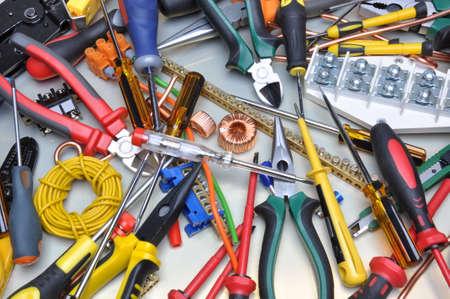 Foto de Tools and component kit to use in electrical installations - Imagen libre de derechos