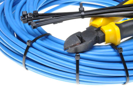 Foto de Pliers with electrical cables and cable ties - Imagen libre de derechos