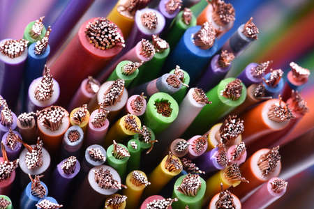 Photo pour Colored electric cables closeup - image libre de droit