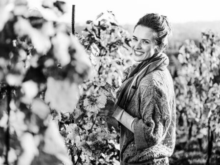 Photo for Portrait of happy young woman in autumn vineyard - Royalty Free Image
