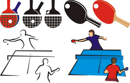 table tennis - equipment and silhouette