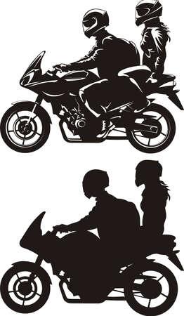 Illustration pour couple ride a motorcycle - image libre de droit