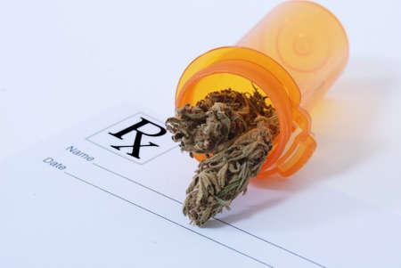Cannabis flower in pill bottle