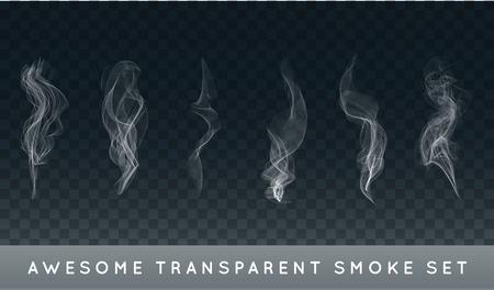 Ilustración de Collection or Set of Realistic Cigarette Smoke or Fog or Haze with Transparency Isolated - Imagen libre de derechos