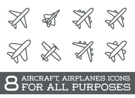 Illustrazione per Aircraft or Airplane Icons Set Collection - Immagini Royalty Free