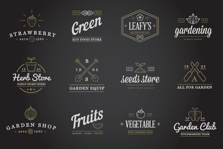 Illustration pour Set of Vector Garden and Farm Elements and Fruits or Vegetables Icons Illustration can be used as Logo or Icon in premium quality - image libre de droit