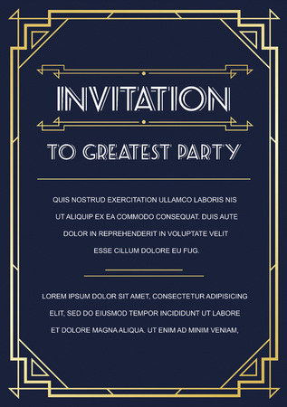 Illustration for Gatsby Style Invitation in Art Deco or Nouveau Epoch 1920's Gangster Era Vector - Royalty Free Image