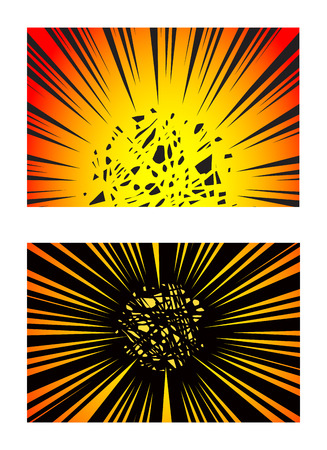 Ilustración de Set of Sun Rays or Explosion Boom for Comic Books Radial Background Vector - Imagen libre de derechos