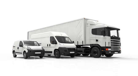 Foto de 3D rendering of a truck, a van and a lorry isolated on a white background - Imagen libre de derechos
