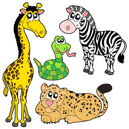 Zoo animals collection 2 - vector illustration.