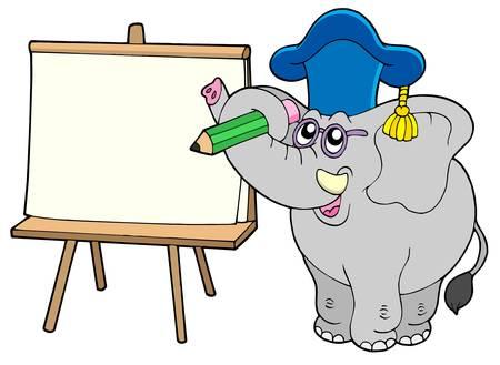 Writing elephant teacher with tablet - vector illustration.