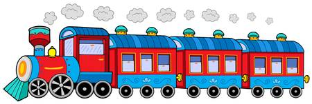 Steam locomotive with wagons - vector illustration.