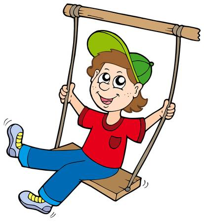Illustration pour Boy on swing - vector illustration. - image libre de droit