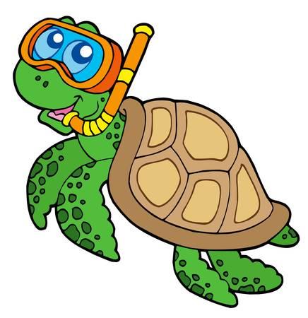 Sea turtle snorkel diver - vector illustration.