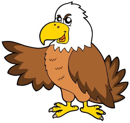 Cartoon eagle on white background - vector illustration.