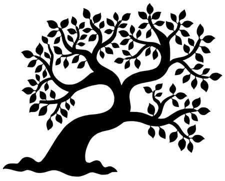 Leafy tree silhouette - vector illustration.