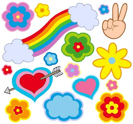 Hippie decorations on white background - vector illustration.