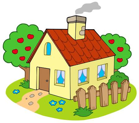 House with garden - vector illustration.