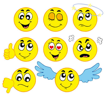 Various smileys 1 on white background - vector illustration.