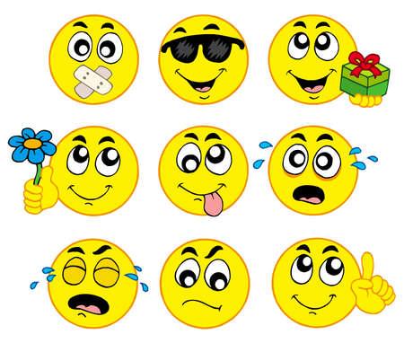 Various smileys 2 on white background - vector illustration.