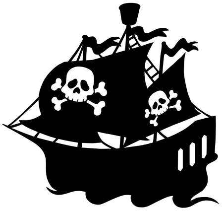 Pirate ship silhouette - vector illustration.