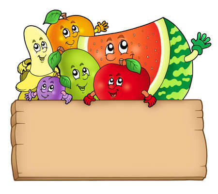 Cartoon fruits holding wooden table - color illustration.