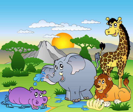 African landscape with four animals - illustration.