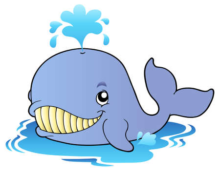 Illustration for Big cartoon whale - Royalty Free Image