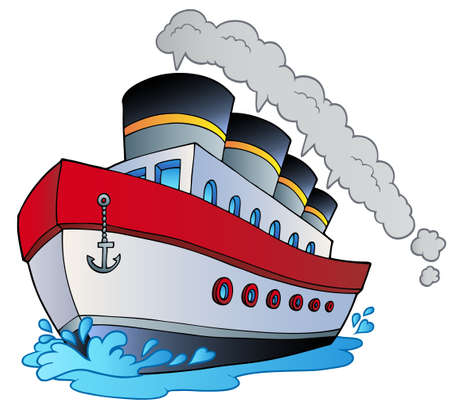 Big cartoon steamship - illustration.