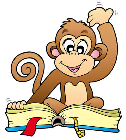 Cute monkey reading book - illustration.