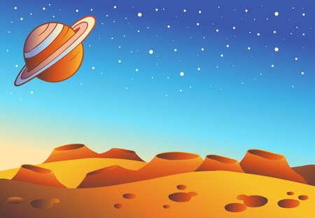 Cartoon red planet landscape - vector illustration.