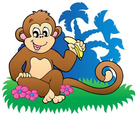 Monkey eating banana near palms