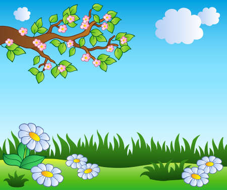 Illustration for Spring meadow with daisies - vector illustration. - Royalty Free Image